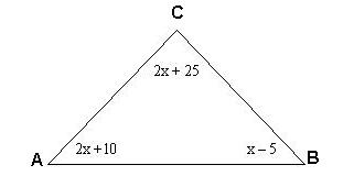 View Problems Solving Equations Involving Interior Angles Of